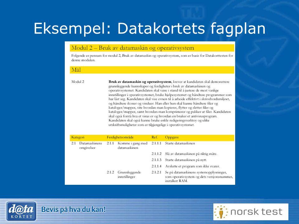 Eksempel: Datakortets fagplan