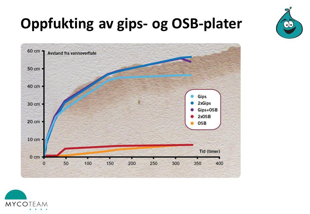 Oppfukting av gips- og OSB-plater