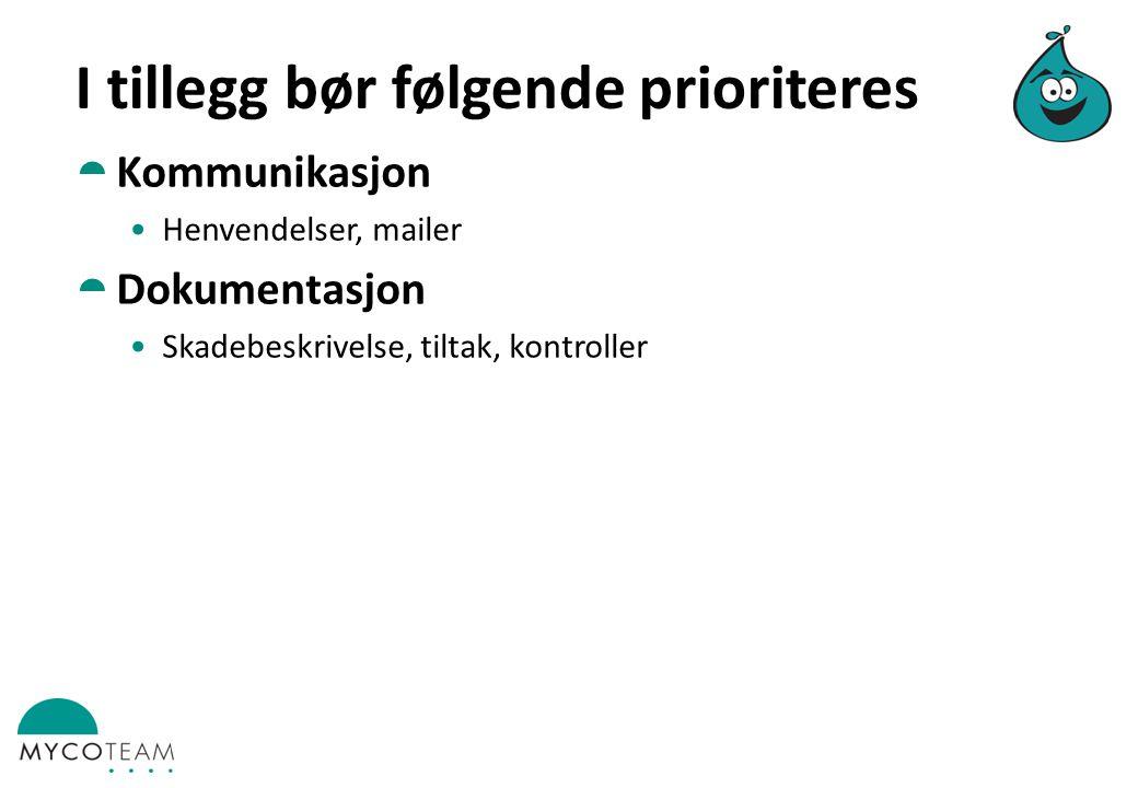 I tillegg bør følgende prioriteres