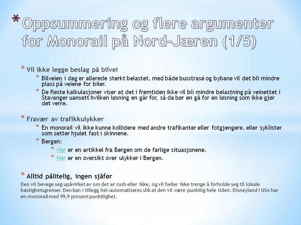 Oppsummering og flere argumenter for Monorail på Nord-Jæren (1/5)