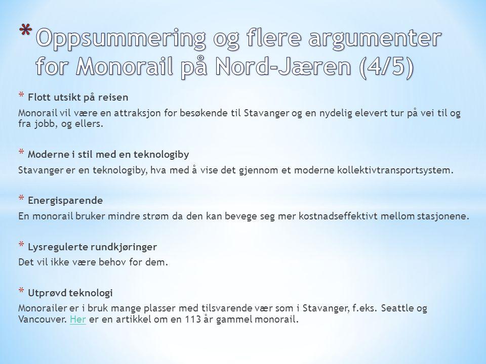 Oppsummering og flere argumenter for Monorail på Nord-Jæren (4/5)