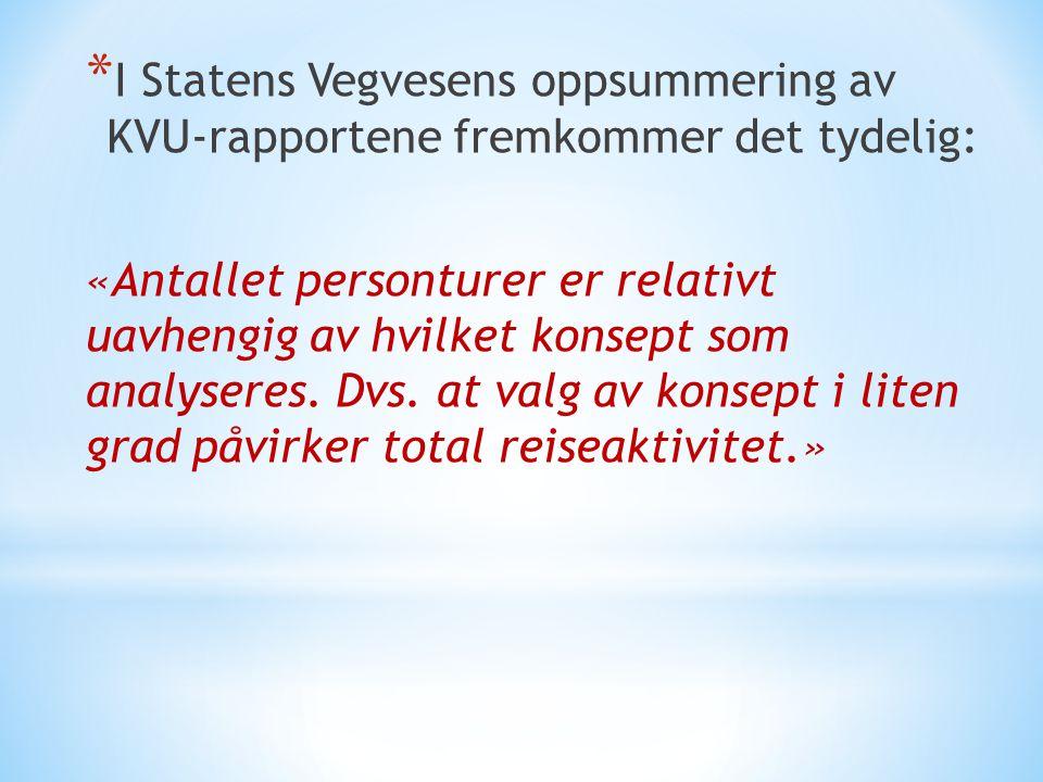 I Statens Vegvesens oppsummering av KVU-rapportene fremkommer det tydelig: