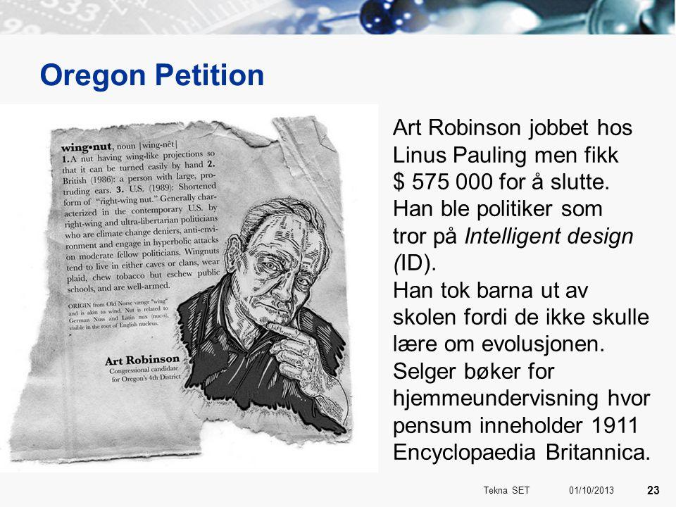Oregon Petition Art Robinson jobbet hos Linus Pauling men fikk