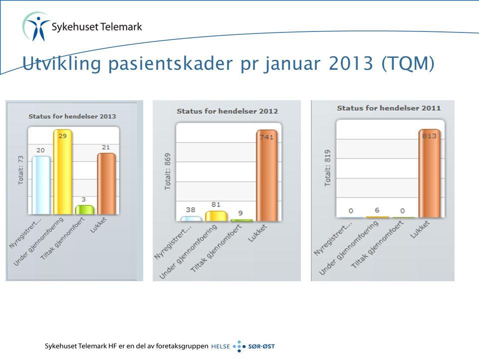 Utvikling pasientskader pr januar 2013 (TQM)