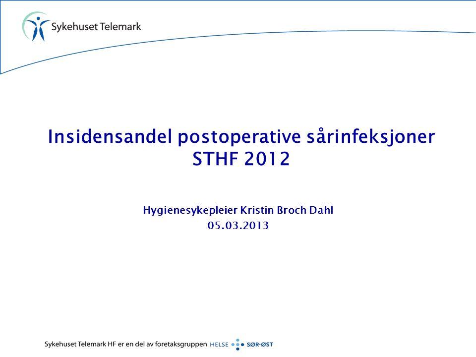 Insidensandel postoperative sårinfeksjoner STHF 2012