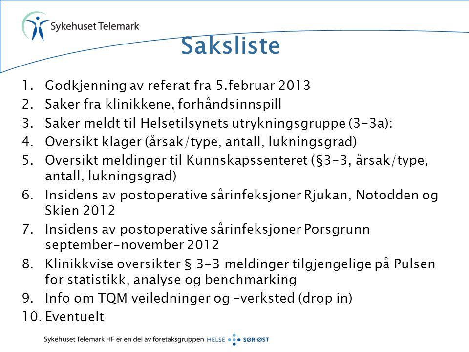 Saksliste Godkjenning av referat fra 5.februar 2013
