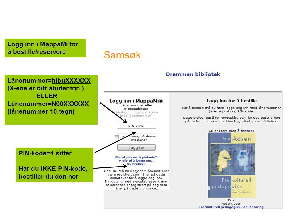 Logg inn i MappaMi for å bestille/reservere