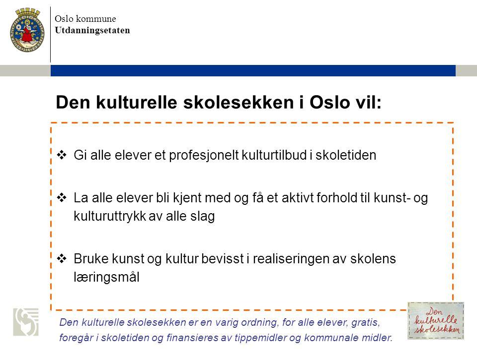 Den kulturelle skolesekken i Oslo vil: