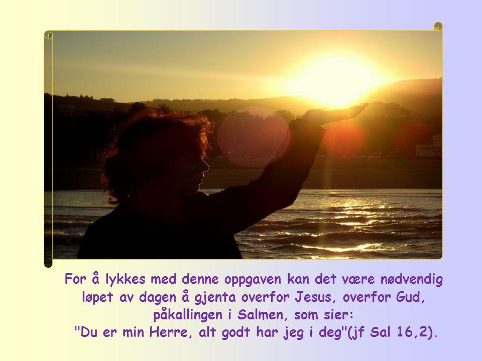 Du er min Herre, alt godt har jeg i deg (jf Sal 16,2).