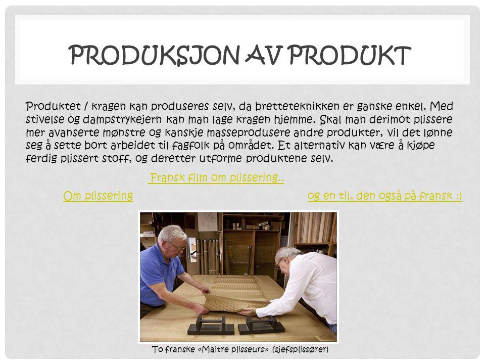 Produksjon av produkt Fransk film om plissering..