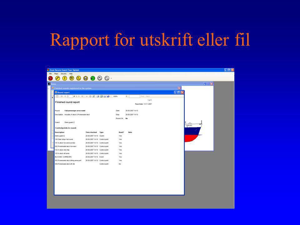 Rapport for utskrift eller fil