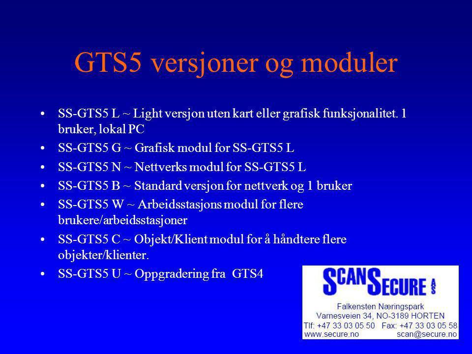 GTS5 versjoner og moduler
