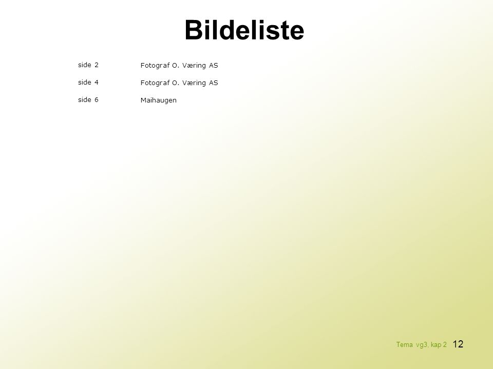 Bildeliste side 2 Fotograf O. Væring AS side 4 side 6 Maihaugen
