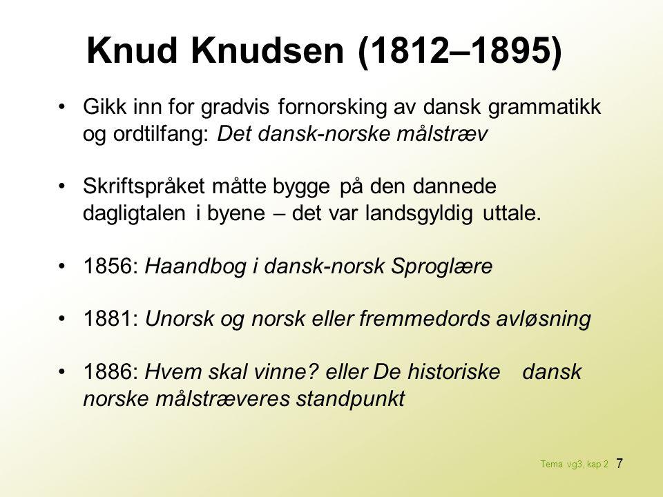 Knud Knudsen (1812–1895) • Gikk inn for gradvis fornorsking av dansk grammatikk og ordtilfang: Det dansk-norske målstræv.