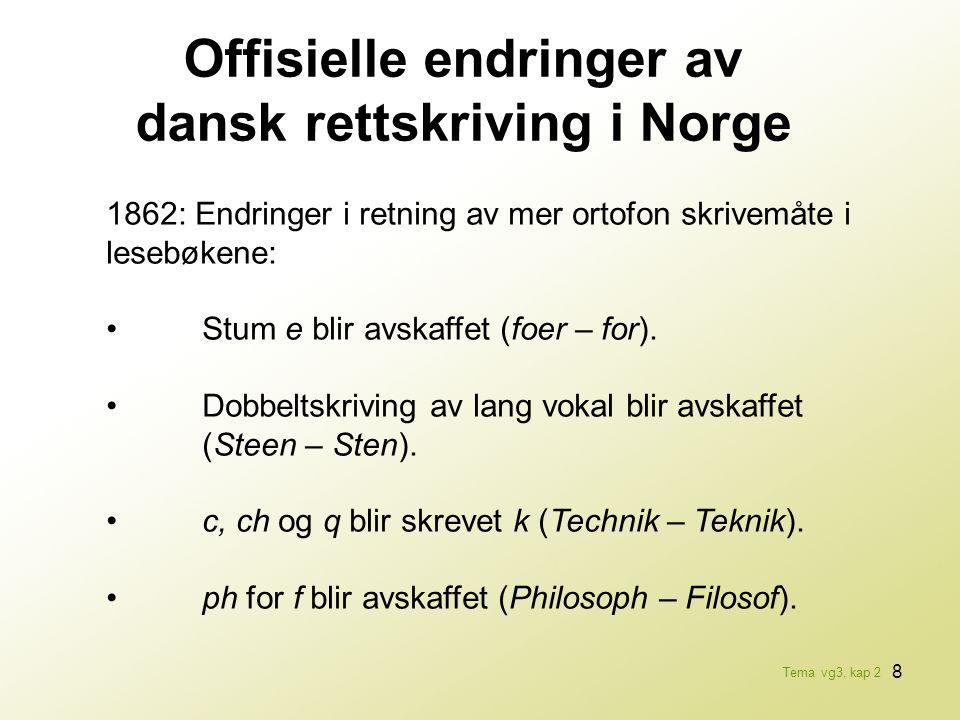 Offisielle endringer av dansk rettskriving i Norge