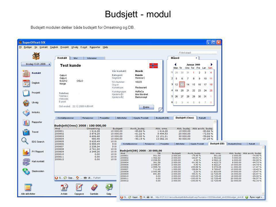 Budsjett - modul Budsjett modulen dekker både budsjett for Omsetning og DB.