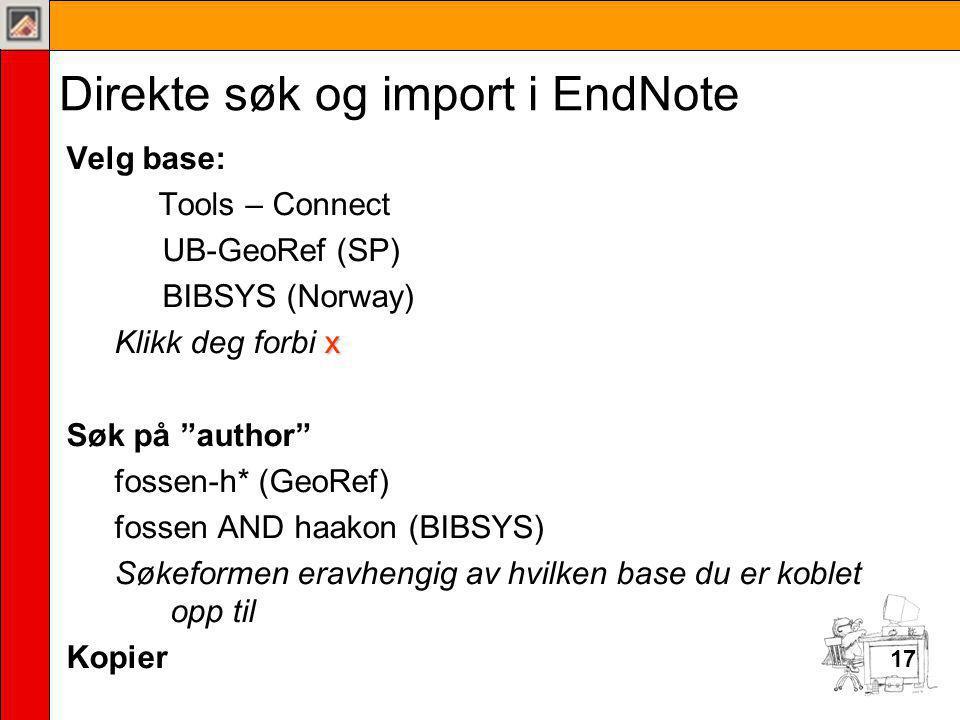 Direkte søk og import i EndNote