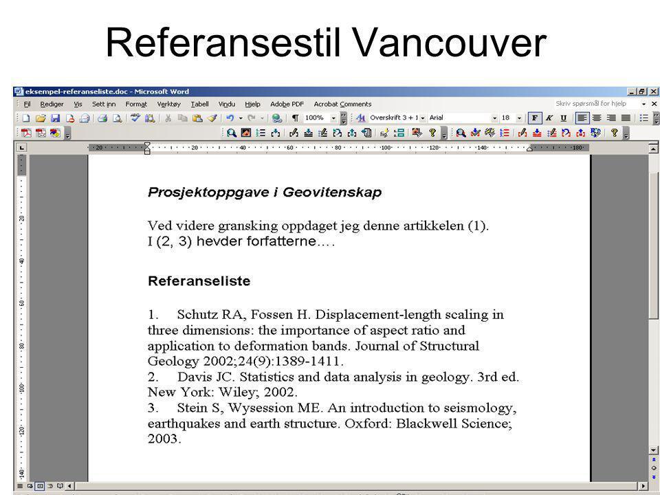 Referansestil Vancouver