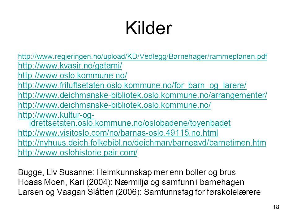 Kilder http://www.kvasir.no/gatami/ http://www.oslo.kommune.no/