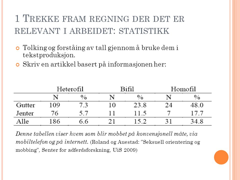 1 Trekke fram regning der det er relevant i arbeidet: statistikk