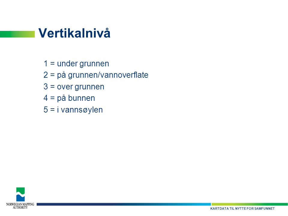 Vertikalnivå 1 = under grunnen 2 = på grunnen/vannoverflate