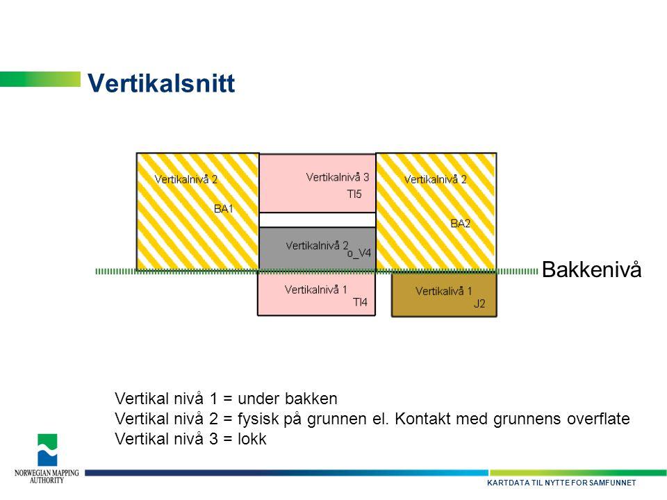 Vertikalsnitt Bakkenivå Vertikal nivå 1 = under bakken