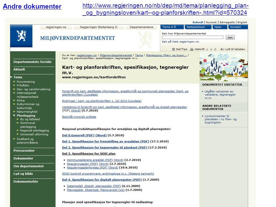 Andre dokumenter http://www.regjeringen.no/nb/dep/md/tema/planlegging_plan-_og_bygningsloven/kart--og-planforskriften-.html id=570324.