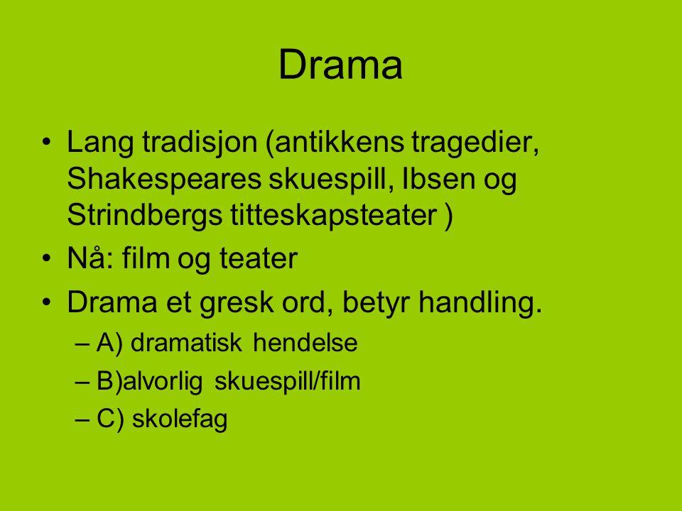 Drama Lang tradisjon (antikkens tragedier, Shakespeares skuespill, Ibsen og Strindbergs titteskapsteater )