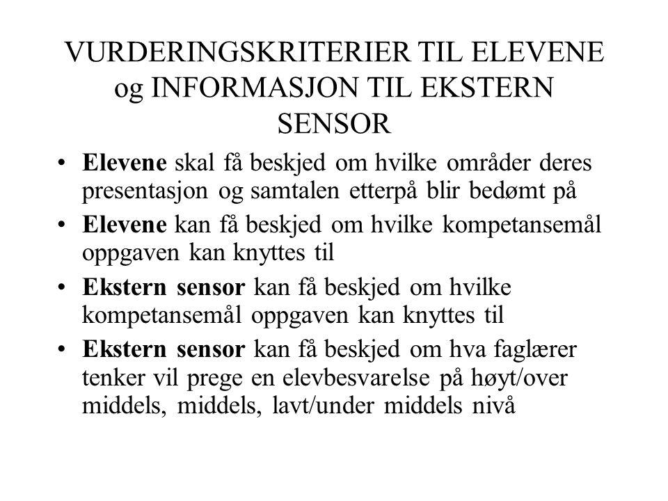 VURDERINGSKRITERIER TIL ELEVENE og INFORMASJON TIL EKSTERN SENSOR