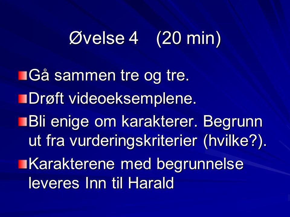 Øvelse 4 (20 min) Gå sammen tre og tre. Drøft videoeksemplene.