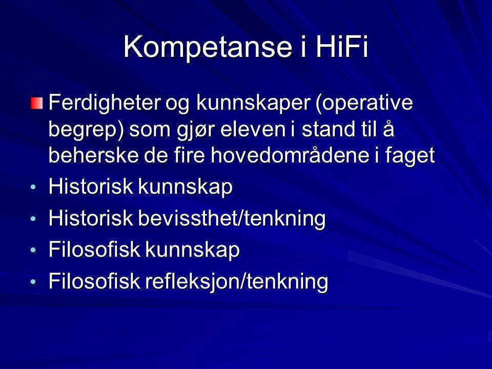 Kompetanse i HiFi Ferdigheter og kunnskaper (operative begrep) som gjør eleven i stand til å beherske de fire hovedområdene i faget.