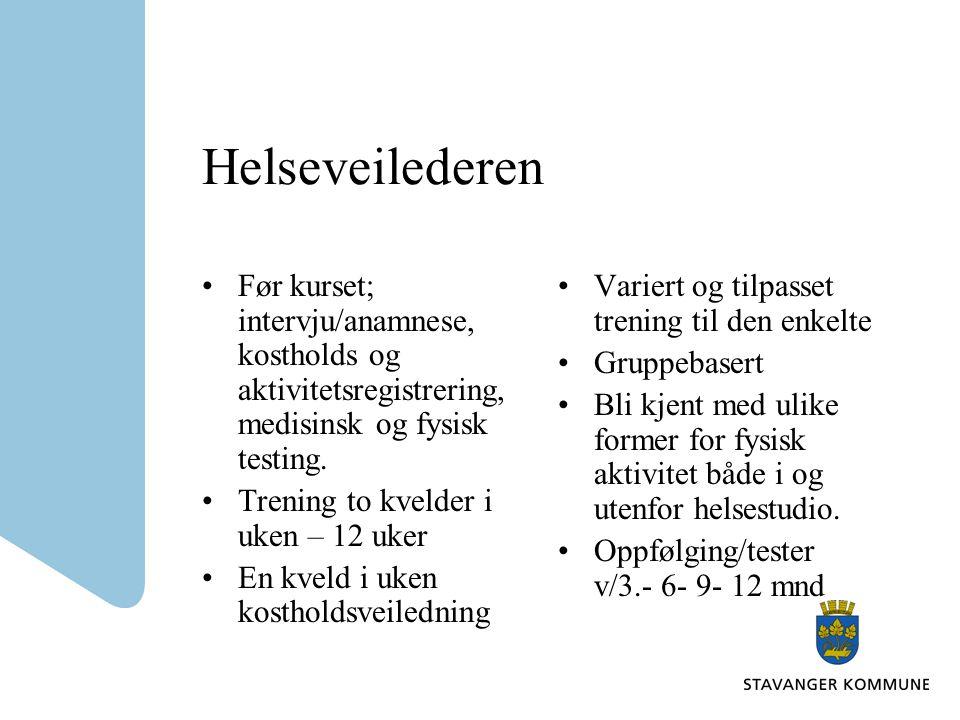 Helseveilederen Før kurset; intervju/anamnese, kostholds og aktivitetsregistrering, medisinsk og fysisk testing.