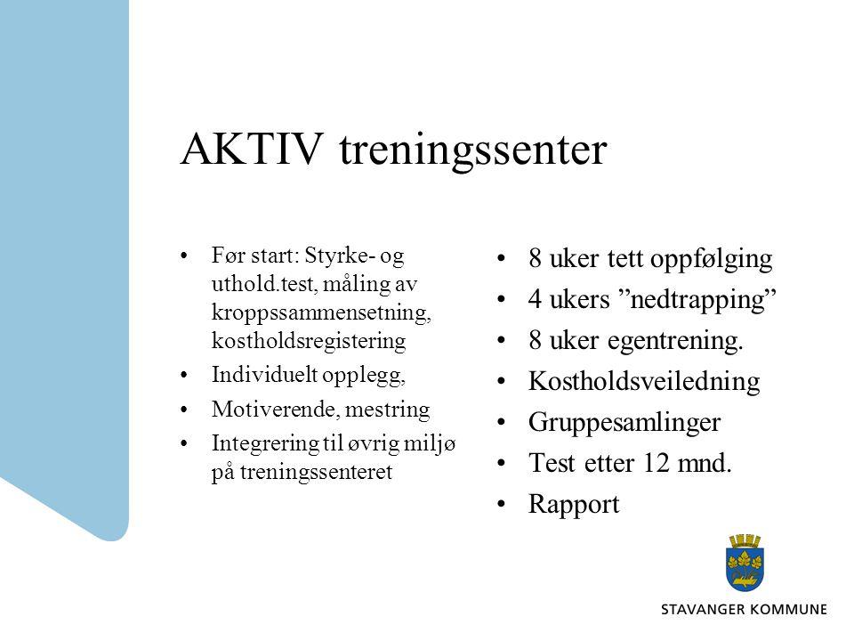 AKTIV treningssenter 8 uker tett oppfølging 4 ukers nedtrapping