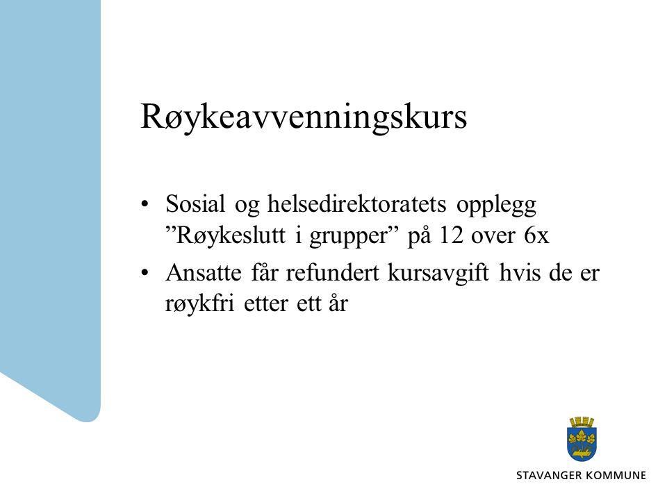 Røykeavvenningskurs Sosial og helsedirektoratets opplegg Røykeslutt i grupper på 12 over 6x.