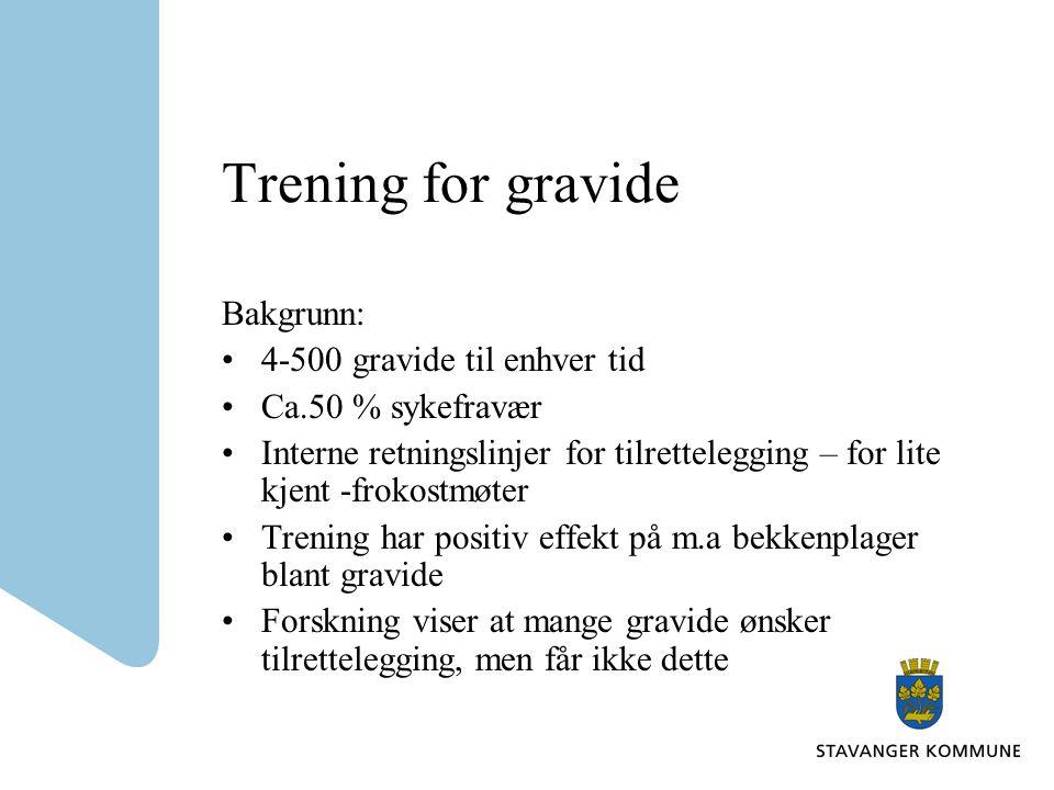 Trening for gravide Bakgrunn: 4-500 gravide til enhver tid