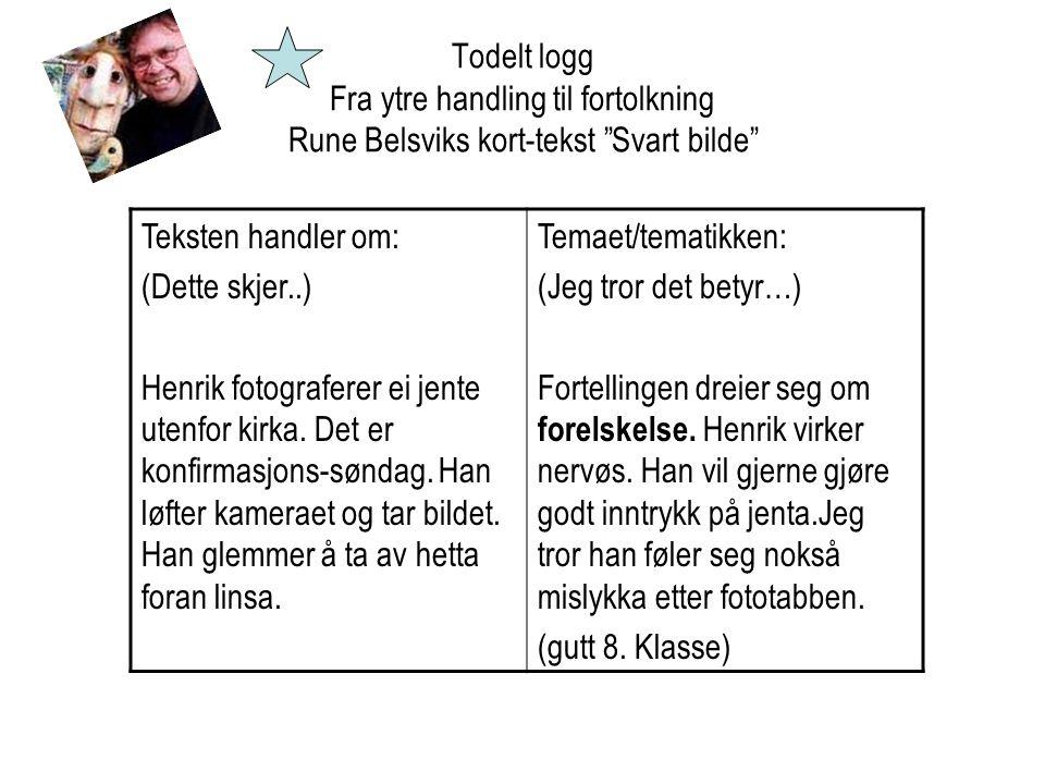 Todelt logg Fra ytre handling til fortolkning Rune Belsviks kort-tekst Svart bilde