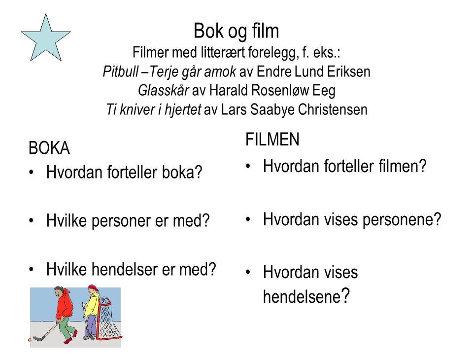 Bok og film Filmer med litterært forelegg, f. eks