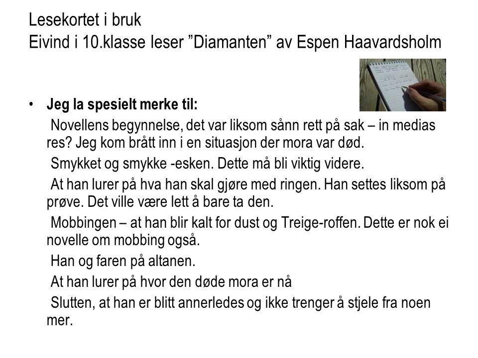 Lesekortet i bruk Eivind i 10