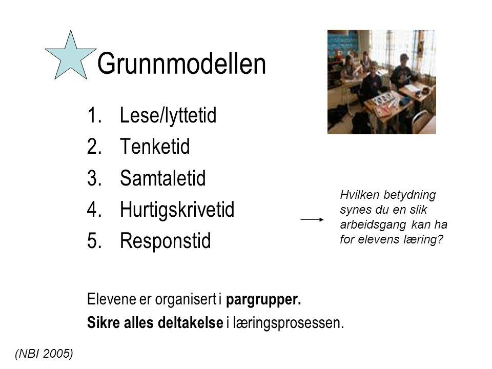 Grunnmodellen Lese/lyttetid Tenketid Samtaletid Hurtigskrivetid