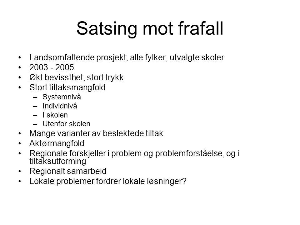 Satsing mot frafall Landsomfattende prosjekt, alle fylker, utvalgte skoler. 2003 - 2005. Økt bevissthet, stort trykk.