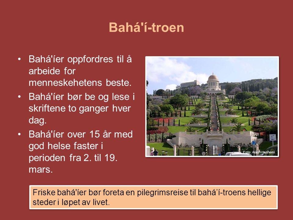 Bahá í-troen Bahá íer oppfordres til å arbeide for menneskehetens beste. Bahá íer bør be og lese i skriftene to ganger hver dag.