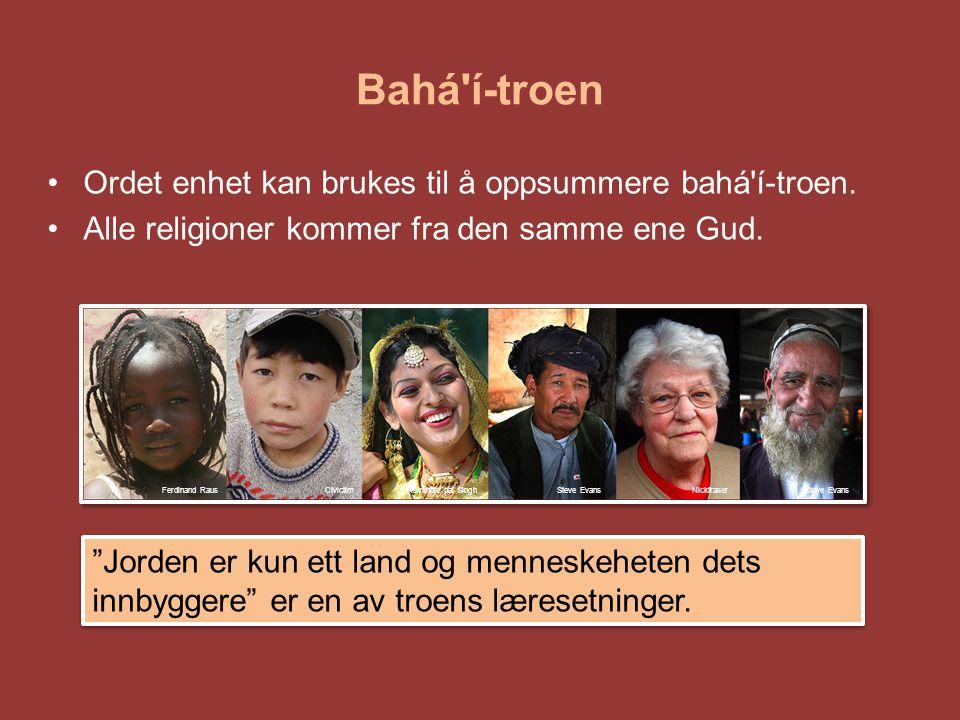 Bahá í-troen Ordet enhet kan brukes til å oppsummere bahá í-troen.