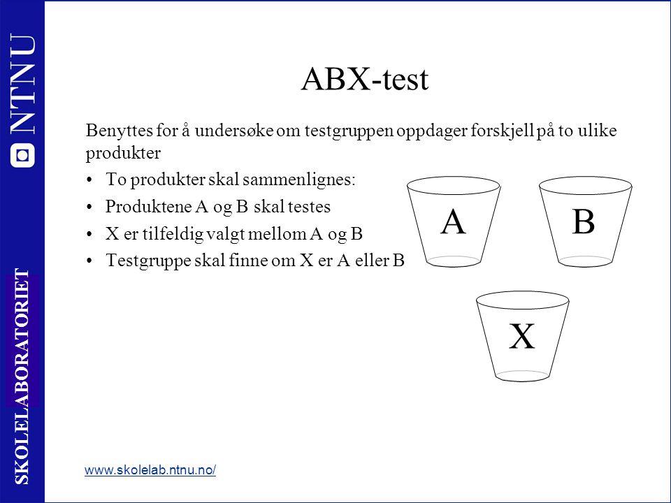 ABX-test Benyttes for å undersøke om testgruppen oppdager forskjell på to ulike produkter. To produkter skal sammenlignes: