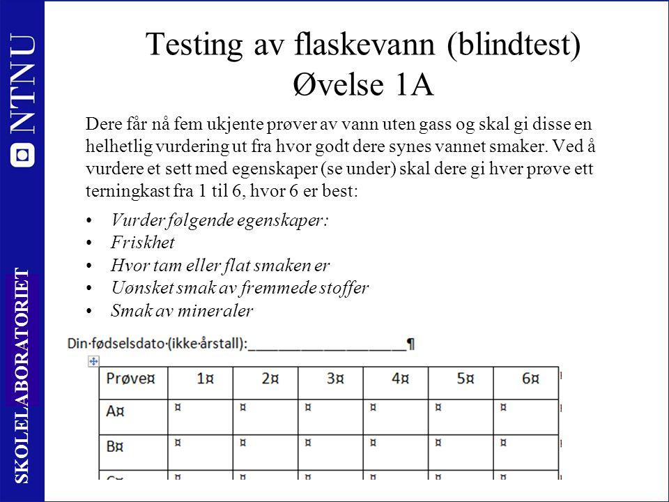 Testing av flaskevann (blindtest) Øvelse 1A
