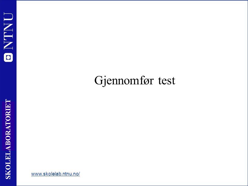 Gjennomfør test www.skolelab.ntnu.no/