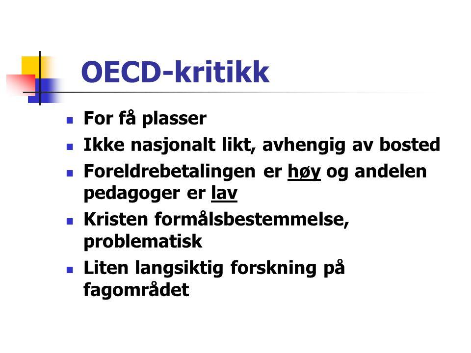 OECD-kritikk For få plasser Ikke nasjonalt likt, avhengig av bosted
