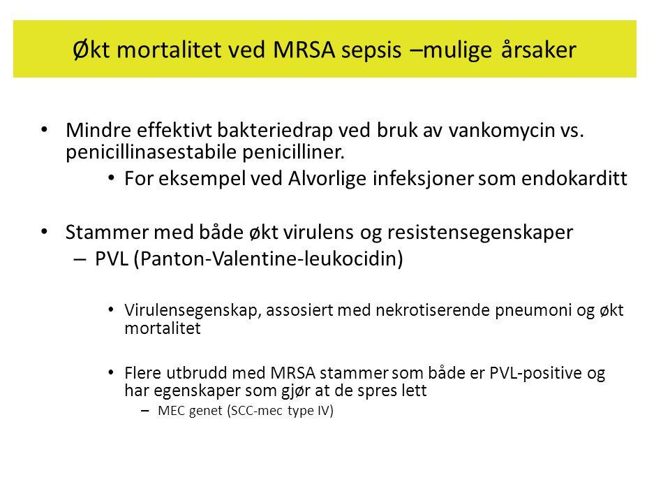 Økt mortalitet ved MRSA sepsis –mulige årsaker