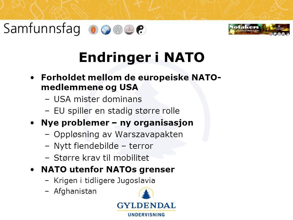 Endringer i NATO Forholdet mellom de europeiske NATO-medlemmene og USA