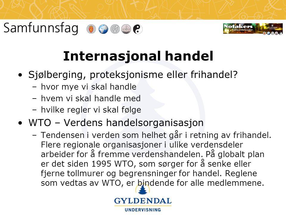 Internasjonal handel Sjølberging, proteksjonisme eller frihandel