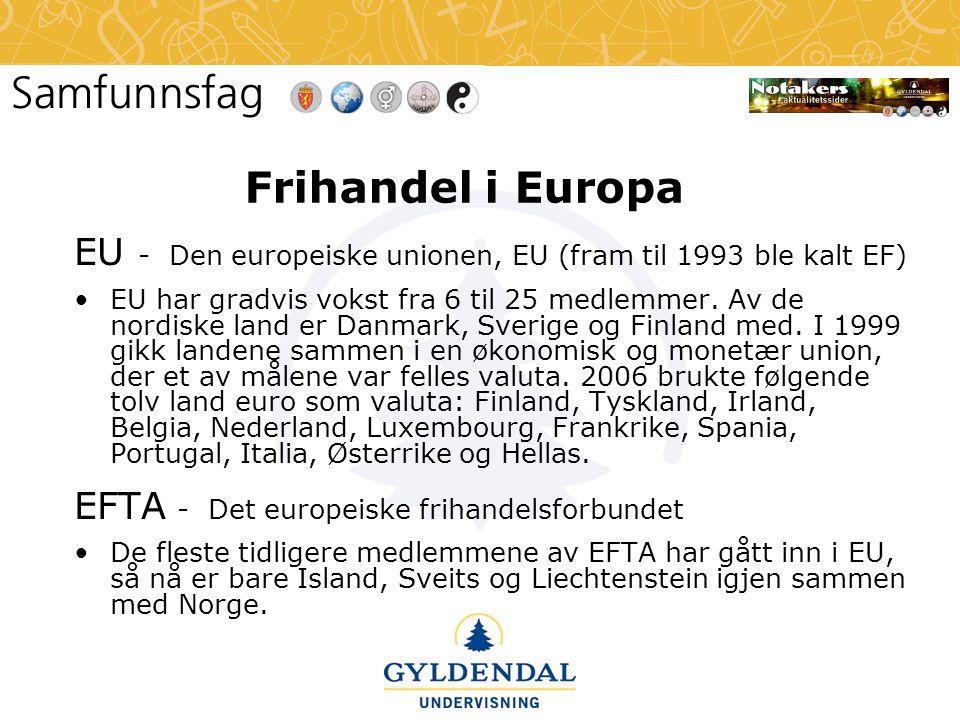 Frihandel i Europa EU - Den europeiske unionen, EU (fram til 1993 ble kalt EF)
